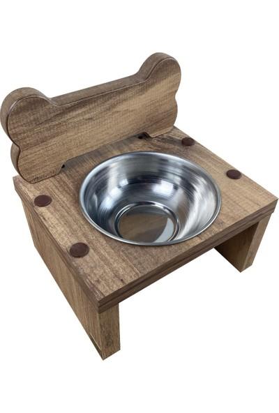Odun Concept Tekli Küçük Irk Köpek ve Kedi Mama ve Su Kabı - Paslanmaz Çelik Kaseli - Kemik