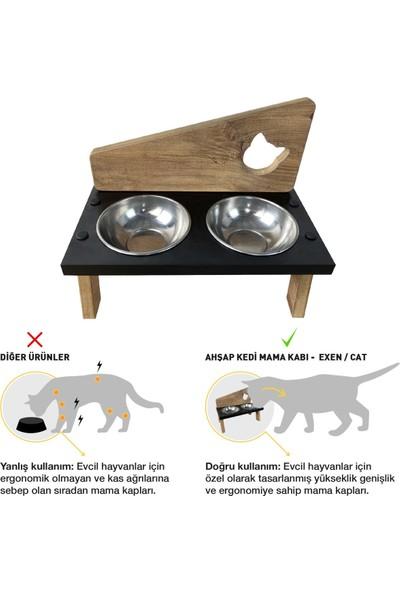 Odun Concept Odunconcept Çelik Kaseli Ahşap Kedi Mama ve Su Kabı - Exen - Cat