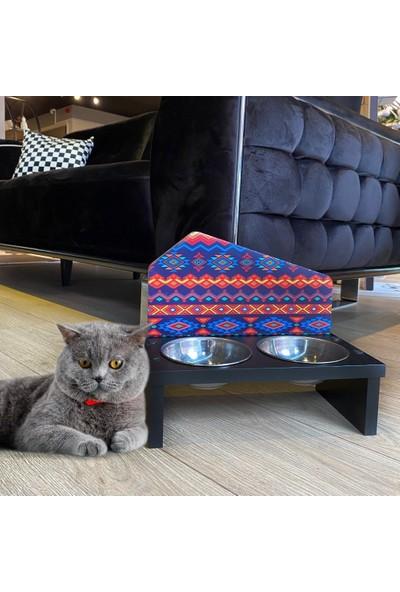 Odun Concept Özel Baskılı Çelik Kaseli Kedi ve Küçük Irk Köpek Mama ve Su Kabı Ahşap - Etnik