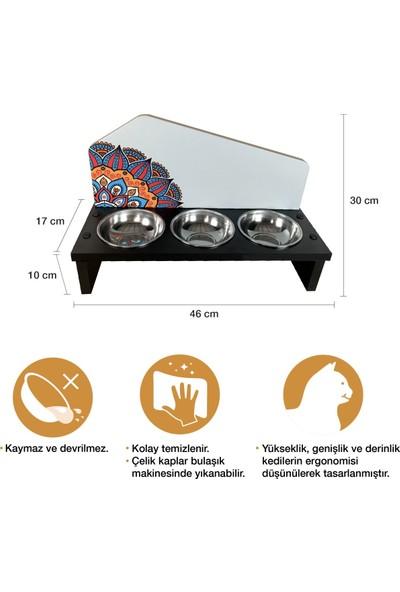Odun Concept 3'lü Özel Baskılı Çelik Kaseli Kedi ve Küçük Irk Köpek Mama ve Su Kabı Ahşap - Matilda
