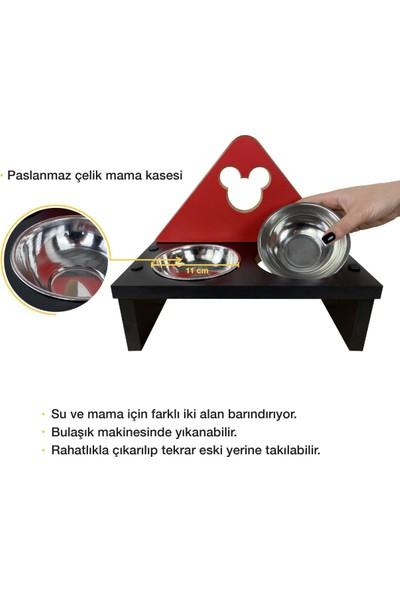 Odun Concept Kedi ve Küçük Irk Köpek Mama ve Su Kabı - Paslanmaz Çelik Kaseli - Red Edition Minnie Mouse