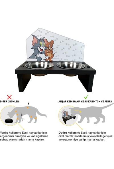 Odun Concept Özel Baskılı Çelik Kaseli Kedi ve Küçük Irk Köpek Mama ve Su Kabı Ahşap - Tom ve Jerry