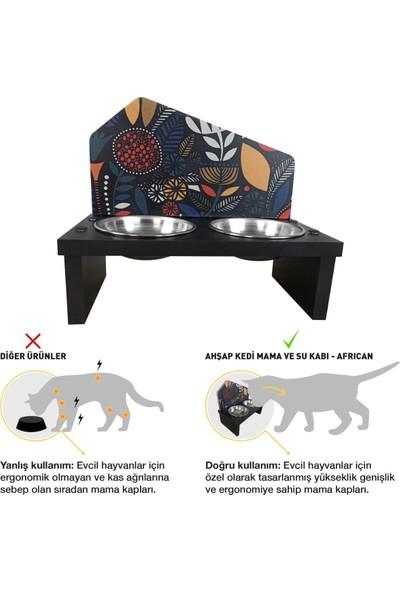 Odun Concept Özel Baskılı Çelik Kaseli Kedi ve Küçük Irk Köpek Mama ve Su Kabı Ahşap - African