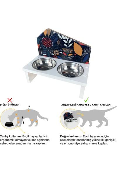 Odun Concept Özel Baskılı Çelik Kaseli Kedi ve Küçük Irk Köpek Mama ve Su Kabı Ahşap - African Beyaz
