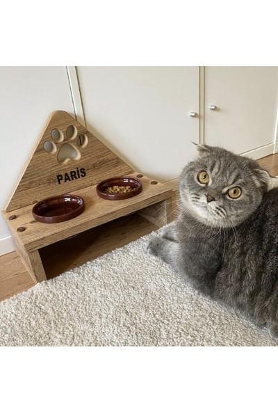 Odun Concept Bordo Seramik Kaseli Kedi Mama Kabı - Tamamen Ahşap Desenli - Pati