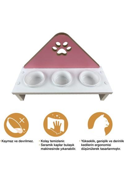 Odun Concept Odunconcept 3'lü Kedi ve Küçük Irk Köpek Mama ve Su Kabı - Beyaz Seramik Kaseli Beyaz - Pink Pati