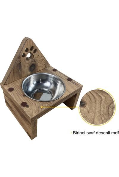 Odun Concept Odunconcept Tekli Küçük Irk Köpek ve Kedi Mama ve Su Kabı - Paslanmaz Çelik Kaseli - Pati