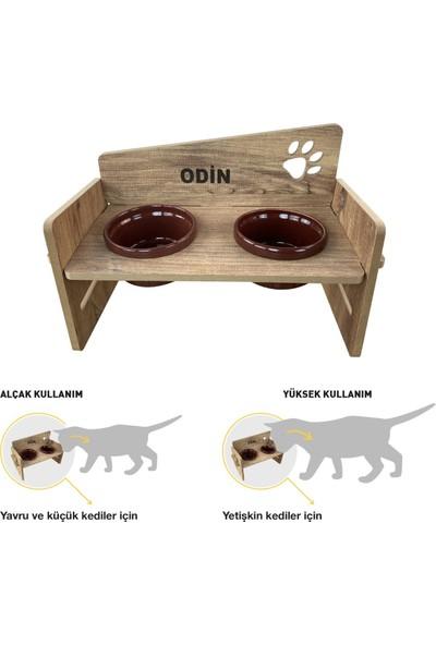 Odun Concept Odunconcept Yüksekliği Ayarlanabilir Kedi ve Küçük Irk Köpek Mama ve Su Kabı Bordo Seramik Kaseli Tamamen Ahşap Desenli - Bordo Seramik Level