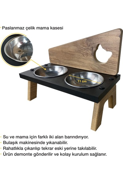 Odun Concept Çelik Kaseli Ahşap Kedi Mama ve Su Kabı - Exen - Cat