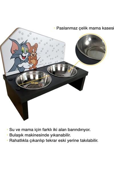 Odun Concept Odunconcept Özel Baskılı Çelik Kaseli Kedi ve Küçük Irk Köpek Mama ve Su Kabı Ahşap - Tom ve Jerry