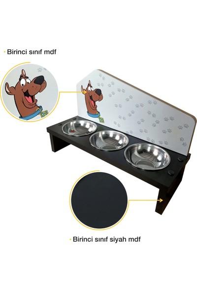 Odun Concept 3'lü Özel Baskılı Çelik Kaseli Kedi ve Küçük Irk Köpek Mama ve Su Kabı Ahşap - Scooby Doo