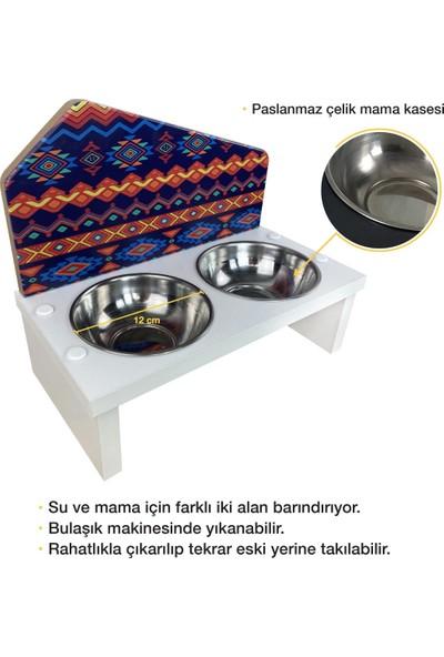 Odun Concept Özel Baskılı Çelik Kaseli Kedi ve Küçük Irk Köpek Mama ve Su Kabı Ahşap - Etnik Beyaz