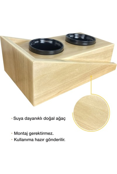Odun Concept Odunconcept Dış Mekana Dayanıklı Seramik Kaseli Kedi Mama ve Su Kabı - Ramp Seramik