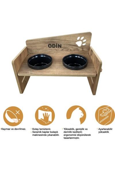 Odun Concept Yüksekliği Ayarlanabilir Kedi ve Küçük Irk Köpek Mama ve Su Kabı Siyah Seramik Kaseli Tamamen Ahşap Desenli - Siyah Seramik Level