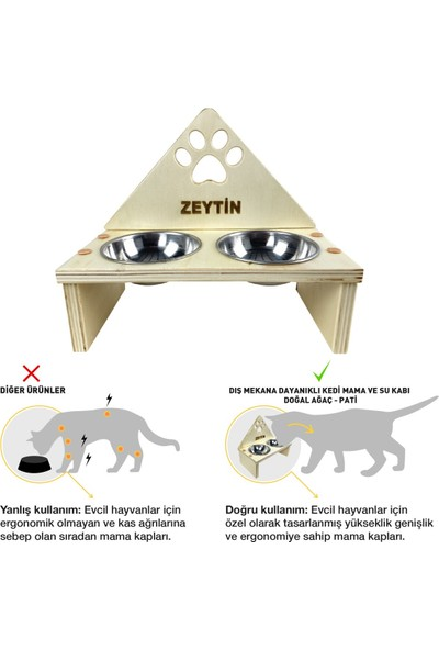 Odun Concept Odunconcept Dış Mekana Dayanıklı Kedi Mama ve Su Kabı - Doğal Ağaç - Pati Desenli