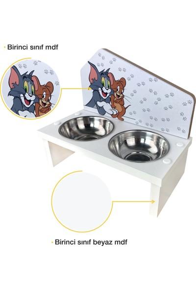 Odun Concept Özel Baskılı Çelik Kaseli Kedi ve Küçük Irk Köpek Mama ve Su Kabı Ahşap - Tom ve Jerry Beyaz