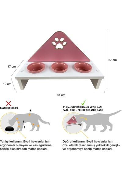 Odun Concept Odunconcept 3'lü Kedi ve Küçük Irk Köpek Mama ve Su Kabı - Pembe Seramik Kaseli Beyaz - Pink Pati