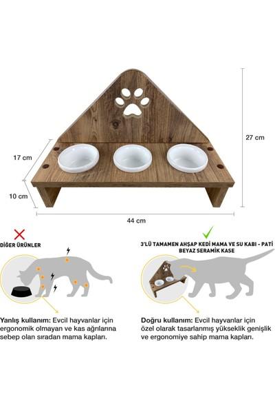 Odun Concept Odunconcept 3'lü Beyaz Seramik Kaseli Kedi Mama ve Su Kabı - Tamamen Ahşap Desenli - Pati