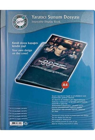 Serve Katalog Sunum Dosya Önü-Sırtı Cepli 30 Lu Mavi SV6720
