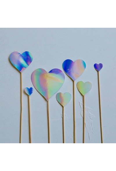 Ohlala Party Yedi Parçalı Hologram Renkli Kalp Pasta Süsü