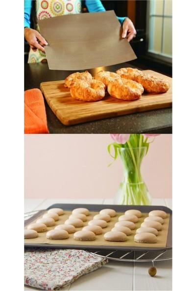 Nostik Yıkanıp Tekrar Kullanılabilir Pişirme Kağıdı 4'lü + Teflon Kaplı Cam Kumaş + 2'li Streç Film
