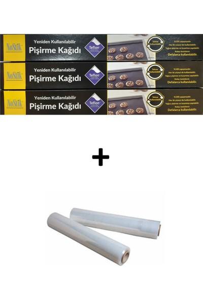 Nostik Yıkanıp Tekrar Kullanılabilir Pişirme Kağıdı 3'lü & Teflon Kaplı Cam Kumaş + 2'li Streç Film