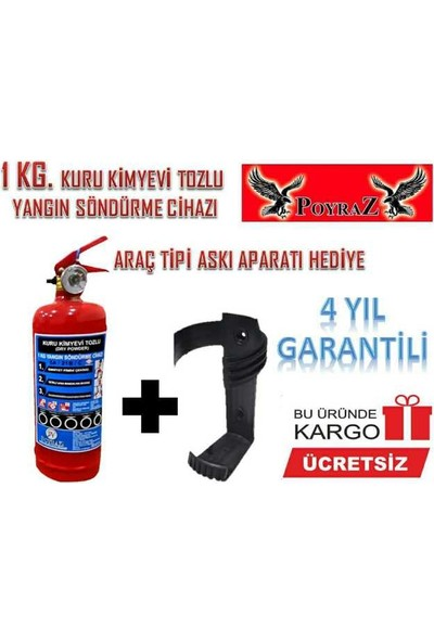Poyraz Yangın Söndürme Tüpü Abc Tozlu 1kg 2021-2025 Tarihli Askıhedıyeli Tüv-Türk Muayeneye Uyumlu 4 Yıl Garantili