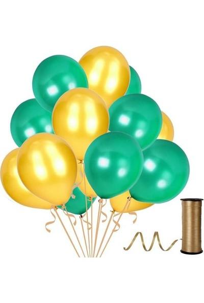 Kullanatparty Rafya Hediyeli 100 Adet Metalik Parti Balonu Koyu Yeşil - Altın