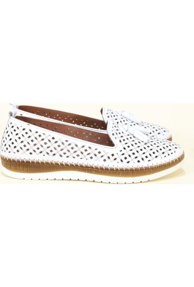 Kadir Ekici 680 Deri Anatomik Kadın Ayakkabı - Beyaz - 36