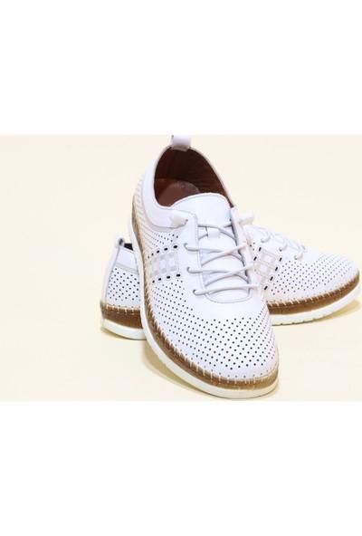 Kadir Ekici 682 Deri Anatomik Kadın Ayakkabı - Beyaz - 36