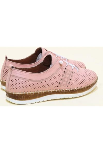 Kadir Ekici 682 Deri Anatomik Kadın Ayakkabı - Pudra - 36
