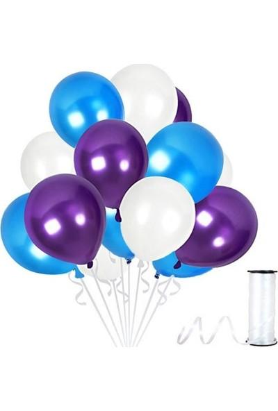 Kullanatparty Rafya Hediyeli 30 Adet Metalik Parti Balonu Mor - Koyu Mavi - Beyaz