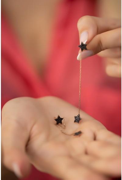 Ninova Silver Çift Yıldız Sallantılı Rose Kaplama Gümüş İtalyan Küpe