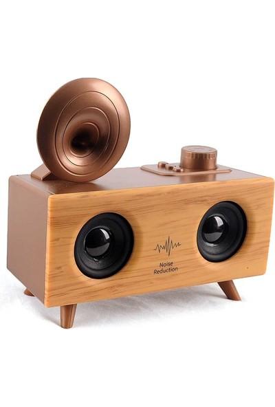 Sezy B6 Nostaljik Mini Gramofon Radyo Bluetooth Hoparlör