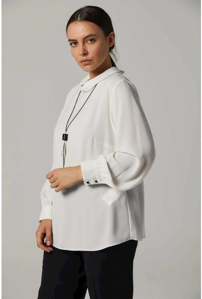 Kayra KA-B20-10076 Ters Yakalı Kolyeli Basic Bluz
