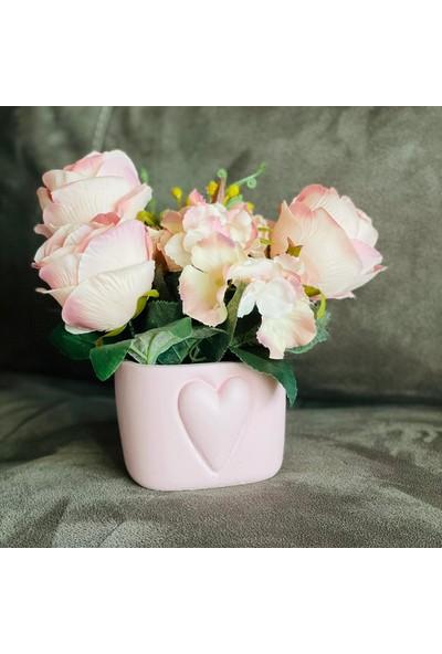 Masif Dekor Love Saksıda Pembe Güller - 28CM