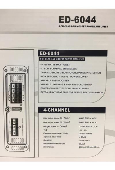 Edıson ED-6044 3000W 4 Kanal Oto Amfi