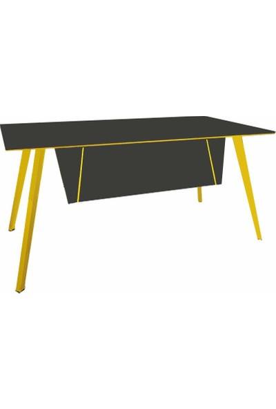 Uzay Ofis Sedia Çalışma Masası - Antrasit-Sarı - 200 cm