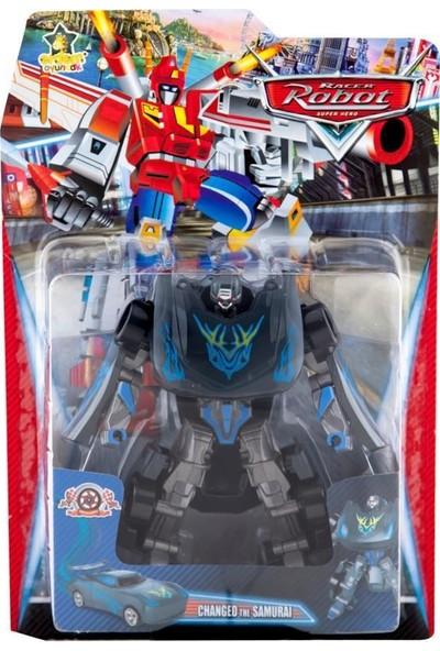 Erdem Oyuncak Racer Robot Siyah-Gri Mavi Desenli - 338-28