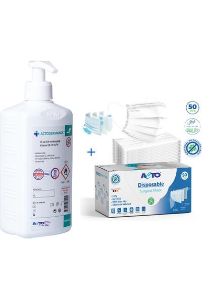 Acto® Surgıcal Mask | Koruyucu Maske Meltblown Kumaş Beyaz + Actodermanol® Dezenfektan 500 ml + Pompalı