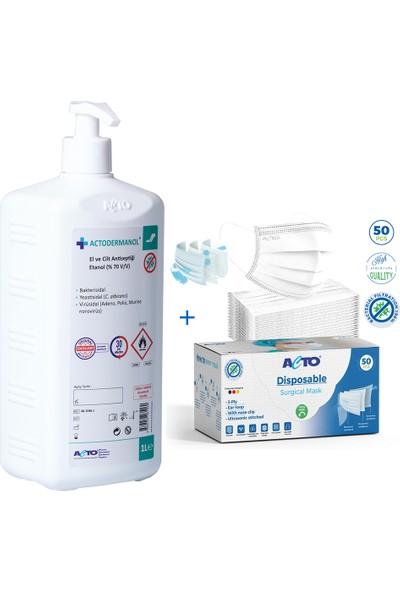 Acto® Surgıcal Mask | Koruyucu Maske Meltblown Kumaş Beyaz + Actodermanol® Dezenfektan 1 lt + Pompalı