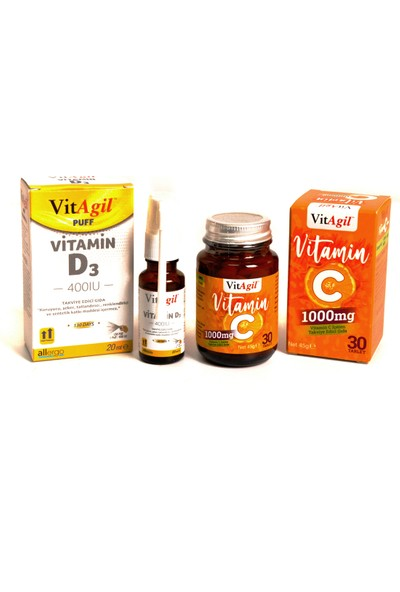 Vitagil 400 Iu Vitamin D3 20 ml ve Vitagil Vitamin C 1000 Mg 30 Tablet Seti