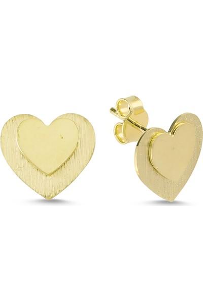 Craft Pırlanta Altın Kalp Küpe