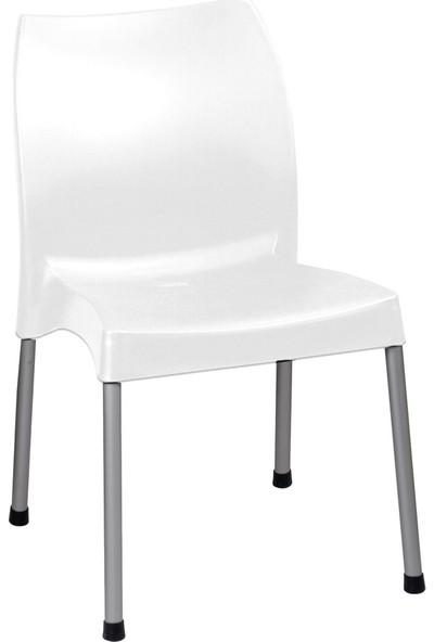Romanoset 2 Li Set Hilal Metal Ayaklı Beyaz Plastik Sandalye