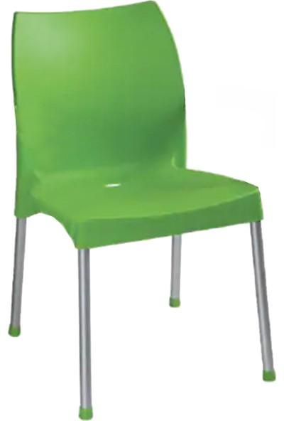 Romanoset Hilal Metal Ayaklı Plastik Sandalye Yeşil