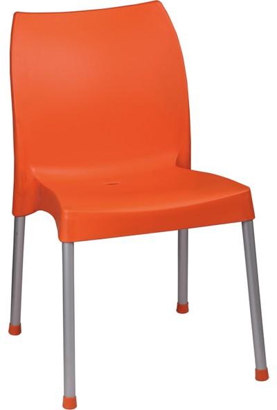 Romanoset Hilal Metal Ayaklı Plastik Sandalye Turuncu