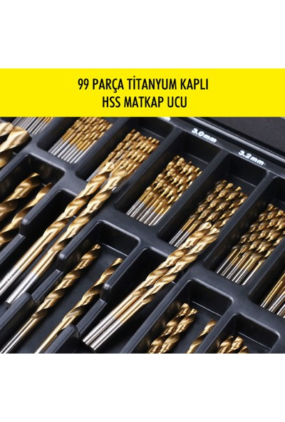 Nalburda 99 Parça Titanyum Kaplama Hss Metal Matkap Ucu Seti Metal Çantalı