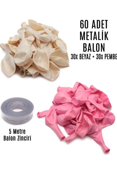 Lora Wedding 60 Adet Beyaz ve Pembe Karışık Metalik Balon + 5 Metre Balon Zinciri