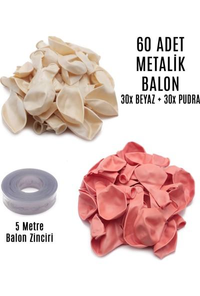 Lora Wedding 60 Adet Beyaz ve Pudra Karışık Metalik Balon + 5 Metre Balon Zinciri