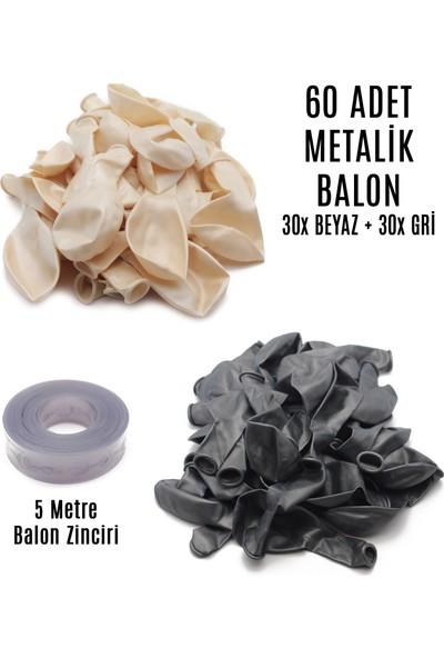 Lora Wedding 60 Adet Beyaz ve Gri Karışık Metalik Balon + 5 Metre Balon Zinciri
